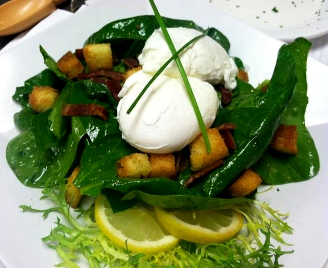 Spinach & Bacon Salad with Poached Eggs | Dash of Savory