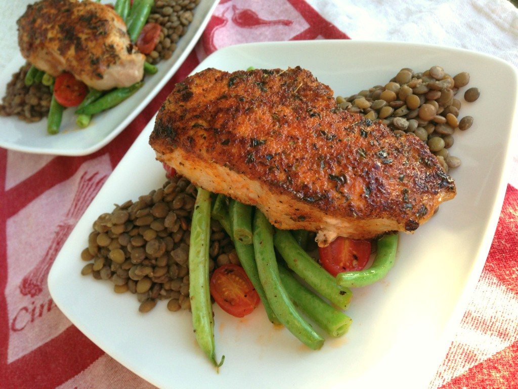 Cajun Pork Chops with Crock-Pot Lentils and Lemon Green Beans