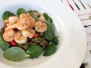 Pesto Lentil Salad with Honey Lemon Shrimp