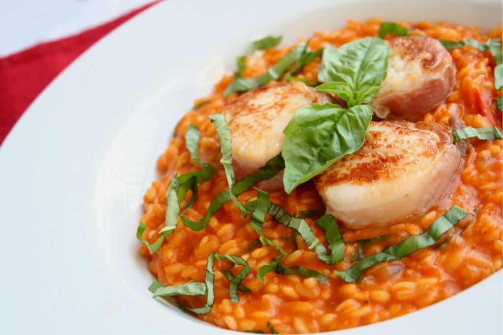 Prosciutto Wrapped Scallops with Roasted Tomato Risotto