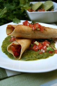 Shrimp Flautas with Roasted Tomatillo Salsa