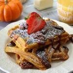 Pumpkin Spice Waffles with Praline Pecan Sauce